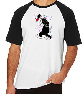 Camiseta Blusa Camisa Raglan Gato Frajola Bolinhas Piu Piu