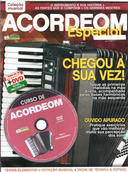 Curso De Acordeom Vol. 1 - Nível Iniciante Revista+dvd