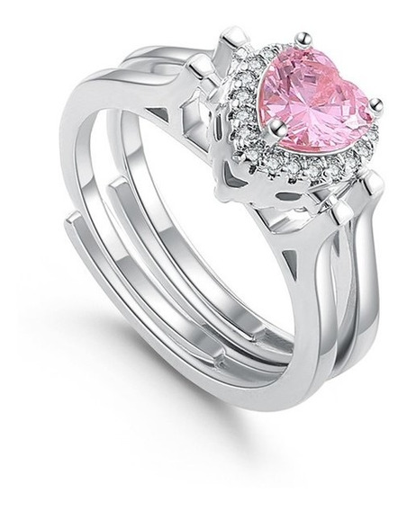 Anillo Chapa De Oro Heart Ring Circonia -m3673 Mayoreo