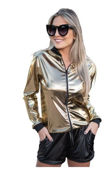 Jaqueta Blusa Casaco Bomber Metalizada Dourada Prata Pérola