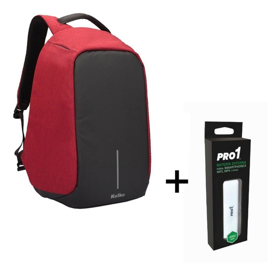 Mochila Antirrobo C/ Puerto Usb Notebook Colores Power Bank