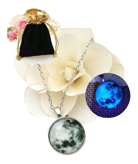 Colar Pingente Lua Cheia Blue Moon Brilha Escuro Cinza/azul