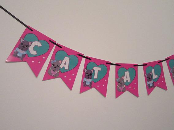 Banderin Personalizado Cumpleaños Simones Perritos 5 Letras