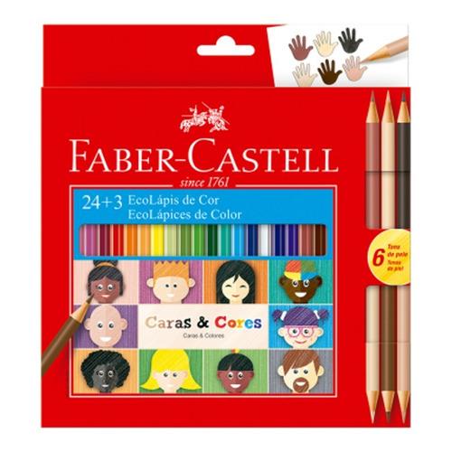 Lápis Cor Ecolápis 24 Lapis + 3 Faber Castell Caras & Cores
