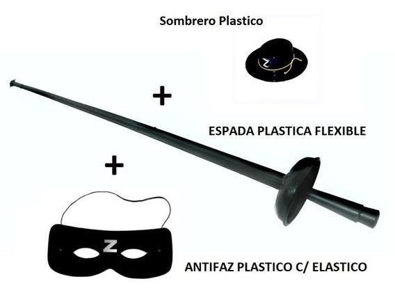 Combo Sombrero Plastico + Espada + Antifaz El Zorro