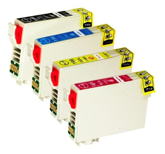 Kit 4 Cartuchos De Tinta Para Epson 196 Cmyk Compativel