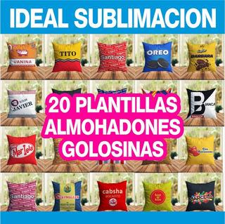 Plantillas Sublimación Almohadones Golosinas Y Mockup