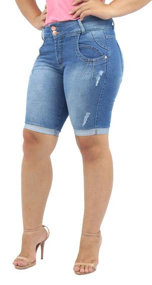 Kit 2 Bermuda Jeans Feminina Cintura Alta Ciclista Plus Size