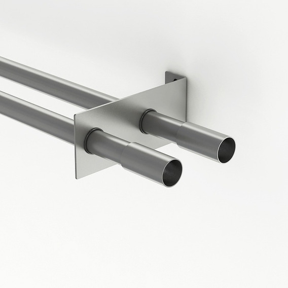 Barral Doble Acero P/cortina Temacasa De 2.2m Presillas22mm