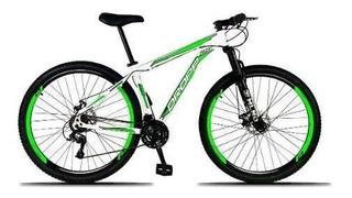 Bicicleta Aro 29 Quadro 19 Freio Disco 21v Branco Verde Drop