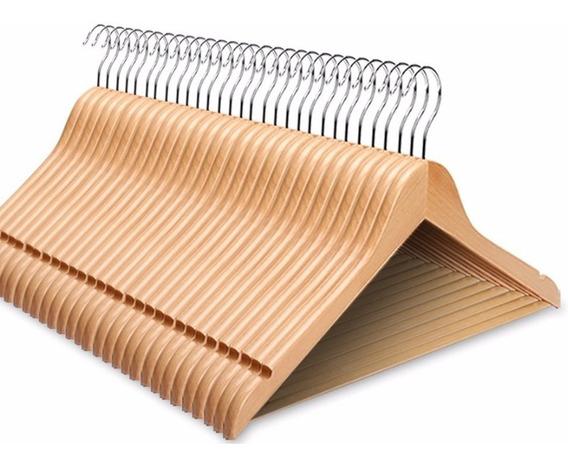 Perchas De Madera Lustrada Elegante Diseño Pack 8 Unidades