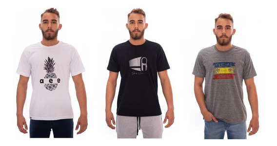 Kit Com 3 Camisetas Aee Surf Estampadas