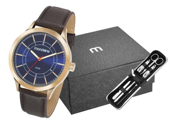 Kit Relógio Masculino Mondaine Dourado 83411gpmvdh2k1 Couro