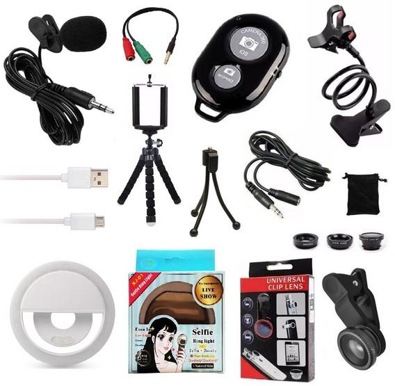 Kit Youtuber 10x1 Microfone Lapela + 2 Tripés Celular Flash