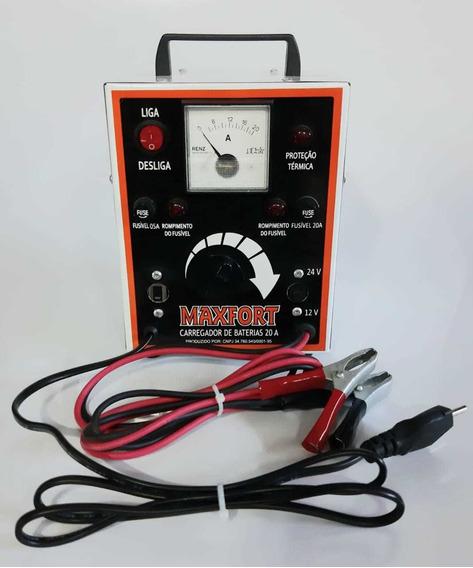 Carregador De Bateria Portátil 20a 12/24v C/ Relógio Maxfort