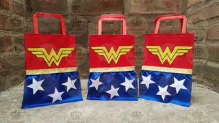 Bolsa Combo X 25 Mujer Maravilla Liga De La Justicia Super Heroina Wonder Woman Candy Bar Regalo Cumpleaños Infantil