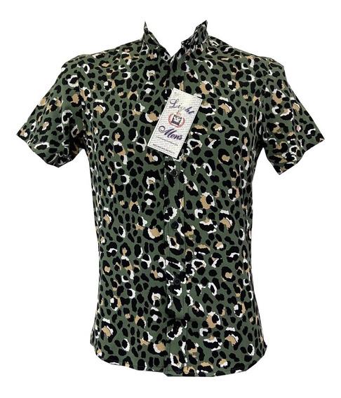 Camisa Cuello Mao Manga Corta Hombre