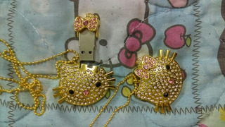 Memoria Usb Hello Kitty 32g Dije Plata Dorado Pedreria