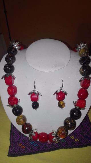 Collar Y Aretes De Ámbar De Chiapas Con Coral Rojo