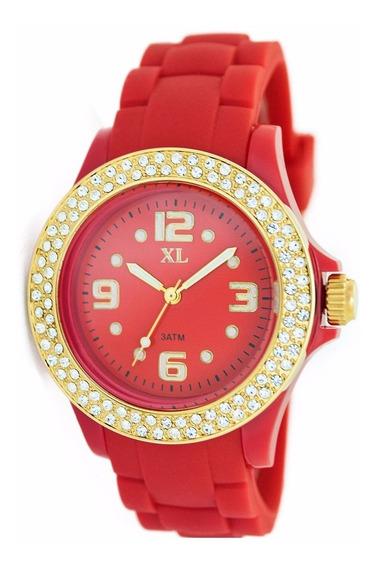 Reloj Xl Extra Large Moda Plástico Dama Xl307 Rojo