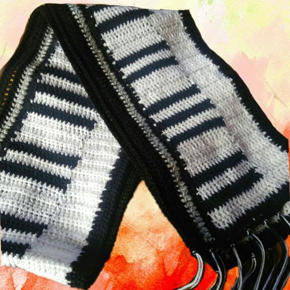 Bufanda Piano, Tejido Artesanal, Crochet