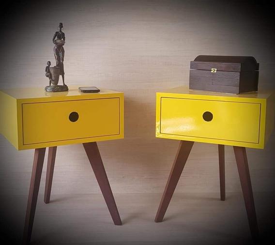 Criado Mudo Vintage Amarelo 100% Mdf