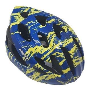 Capacete Ciclista Kripta Raptor Azul/amarelo