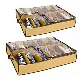 2 Organizador Sapatos Flexível Sapateira Com 12 Nichos Cada