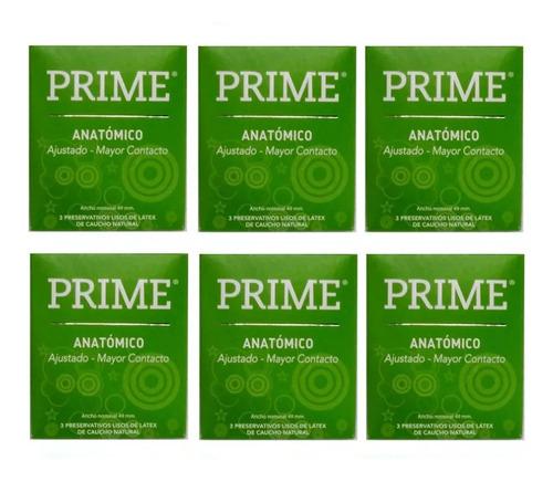 Preservativos Prime Anatomico 6 Cajitas X 3 Menor Ancho