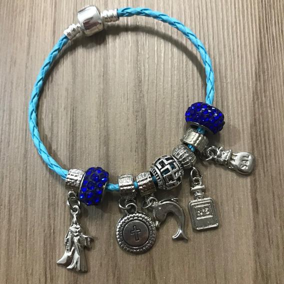Pulseira Iemanjá Berloques Filha Rainha Do Mar Azul