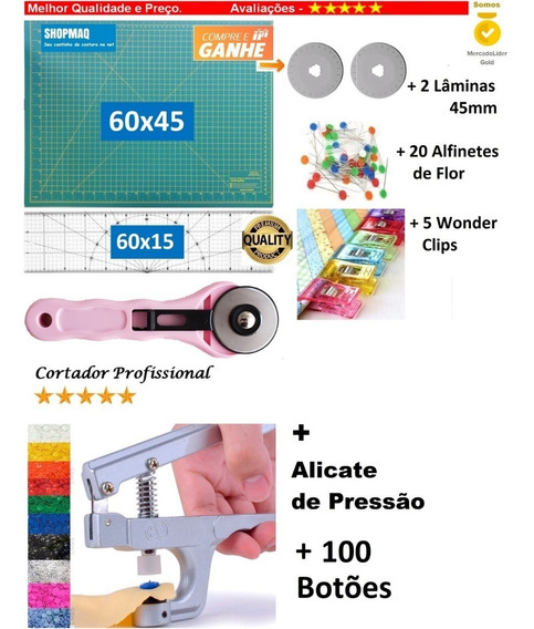 Base60 +régua 60 +cortador+alicate+100botoes+2lam+ 5clips