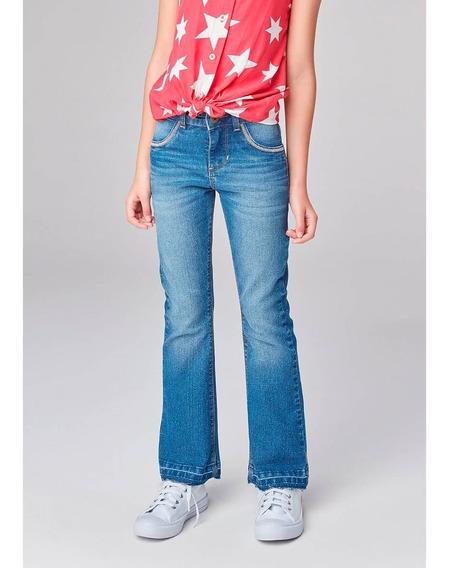 Calça Jeans Flare Infantil Com Barra Desfiada Hering Kids