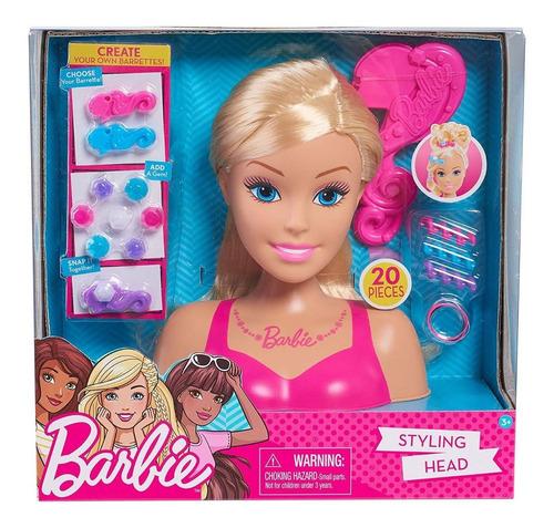 Imagem 1 de 4 de Cabeça De Boneca Barbie Para Pentear Loira Presente Top