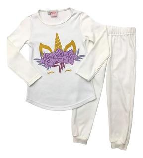 Pijama Invierno Niñas Unicornio Boneco