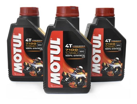 Aceite Moto 10w40 Sintetico 100% Motul 7100 Kit 3 Litros