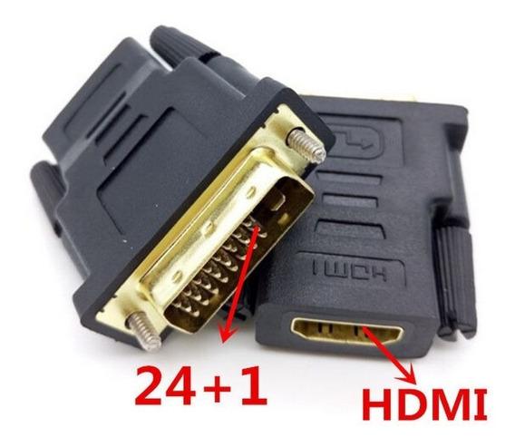Conector Adaptador Dvi-d(24+1)m X Hdmi F Banhado De Ouro Ps3