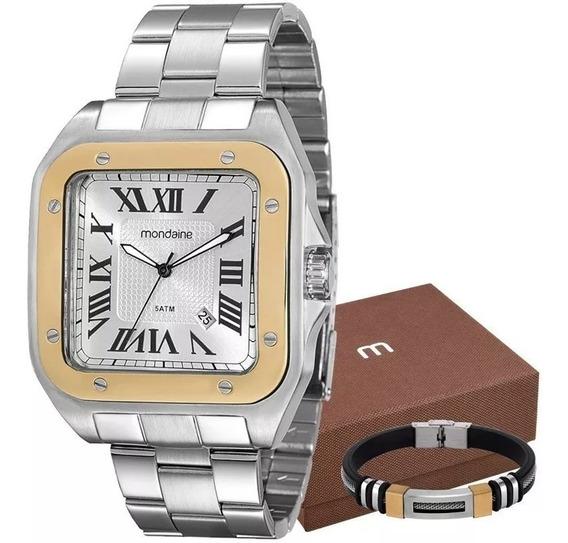 Relógio Mondaine Masculino Prata + Pulseira 78624g0mvna1k1