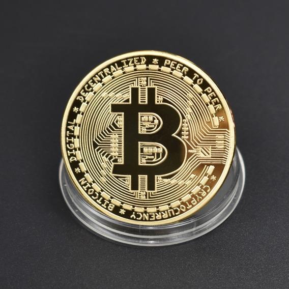 Moeda Comemorativa Bitcoin Cryptomoedas Banhadas A Ouro