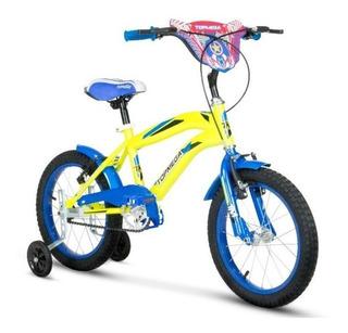 Bicicleta Rodado 16 Bmx Amarilla Azul Nene Top Mega Ahora 12