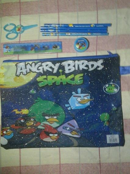 Cartuchera Angry Bird S Lona Tamaño Carta Con Accesorios