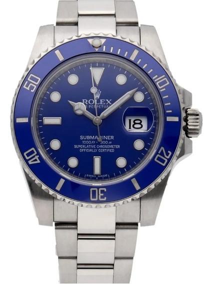 Relógio Em Aço Modelo Sub Silver Blue Frete Gratis