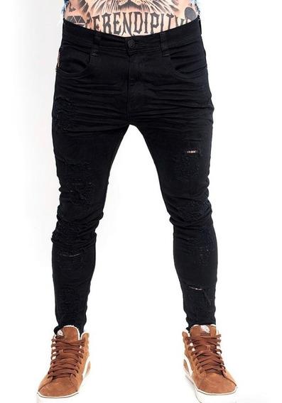 Calça Jeans Super Skinny Degrant Destroyed - Preta