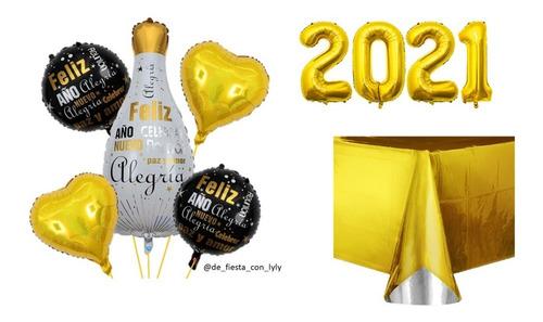 Kit Año Nuevo  - 5 Globos  +globos Nuemro 2021 + Mantel