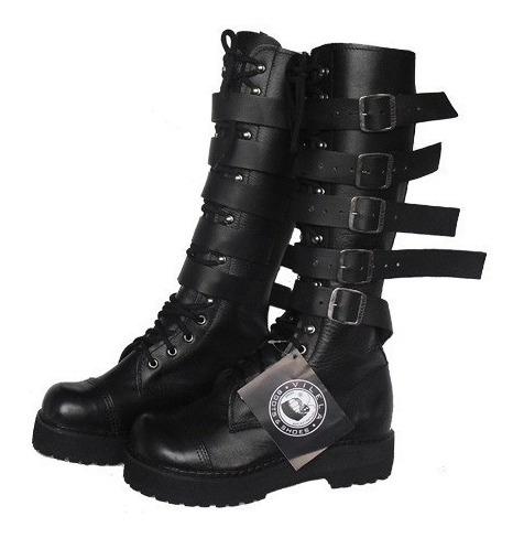 Coturno Vilela Boots Rock Gótico 100% Couro Cano Alto Fivela