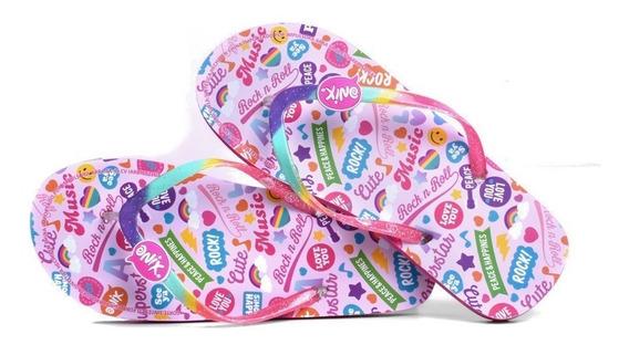 Sandalia Onix Para Niña Rosa Multicolor Estampado Stickers