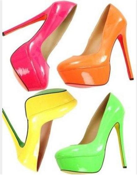 Sapato Fechado Boneca Neon Vibe Salto 15 Cm - Do 33 Ao 39