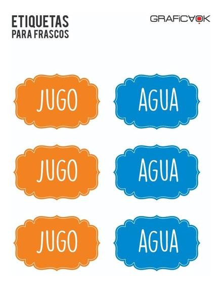 Etiquetas Para Botellas Agua Jugo - Personalizalas!