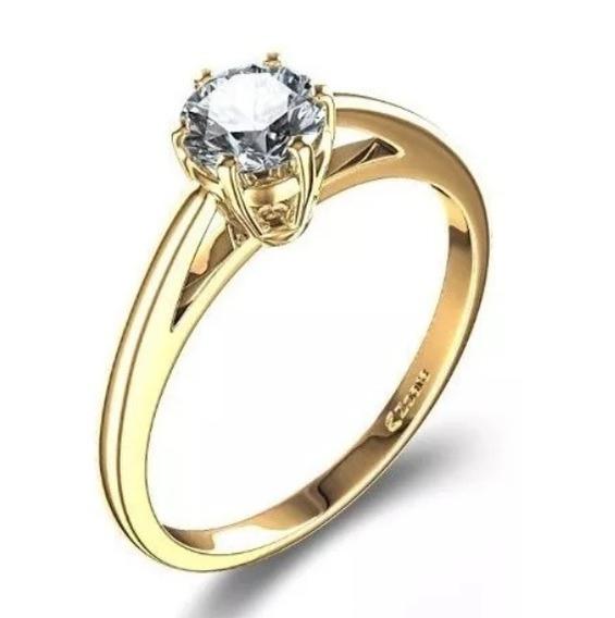 Anel De Ouro 18k Solitário De Noivado + Diamantes Naturais