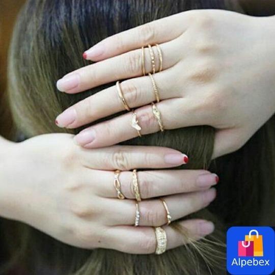 12 Anéis Bijuteria Dourados Vintage Cristal Com Strass