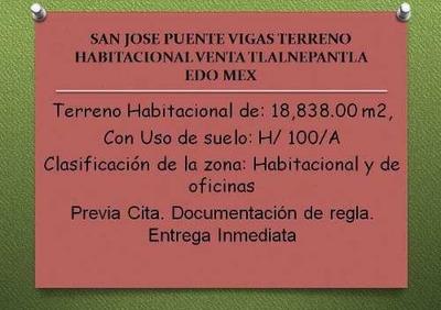 San Jose Puente Vigas Terreno Habitacional Venta Tlalnepantla Edo Mex